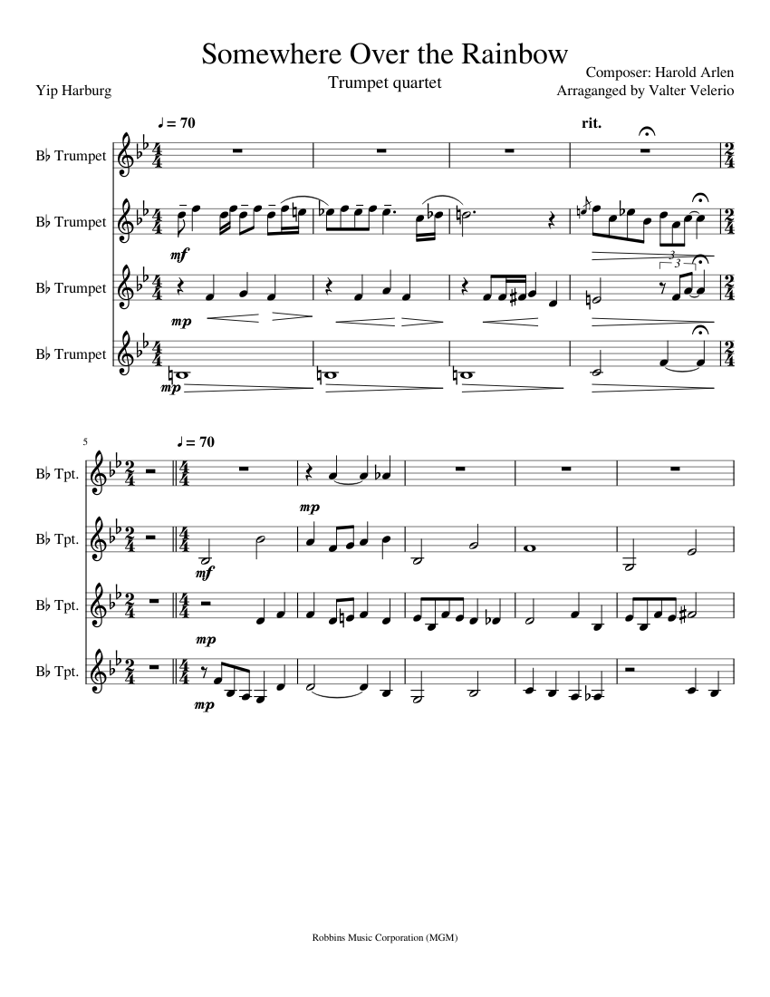 Somewhere over the rainbow trumpet sheet music pdf