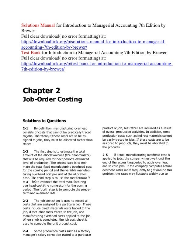 cost accounting solution manual by rante