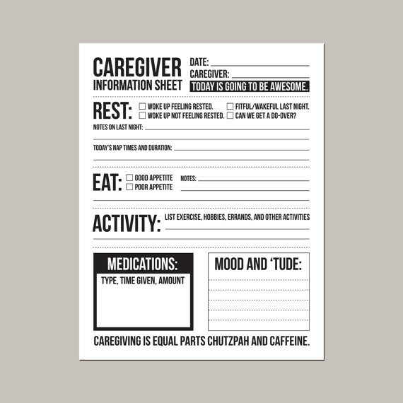 Job instruction sheet in aged care