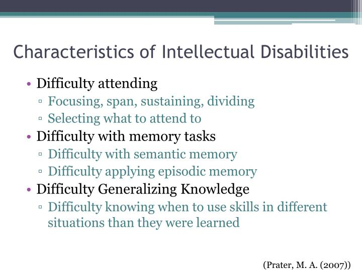 Characteristics of intellectual disability pdf